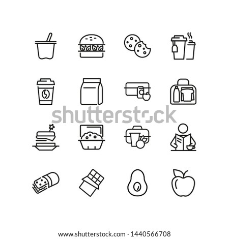 Lunch line icon set. Vegan burger, drink, fruit, bag, pack. Food concept. Can be used for topics like snack, lunch box, eating, school