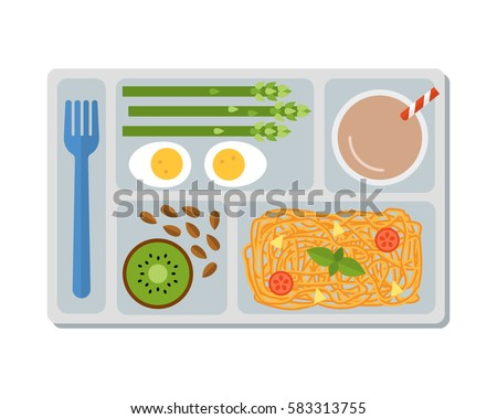 lunch on a tray  pasta