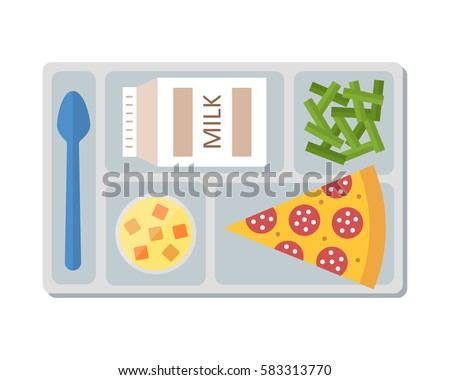 Lunch on a tray: pepperoni pizza, chocolate milk, green beans and fruit jelly. Flat design. Vector illustration.