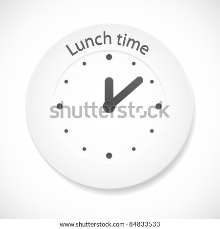 Lunch time clock. Vector illustration.