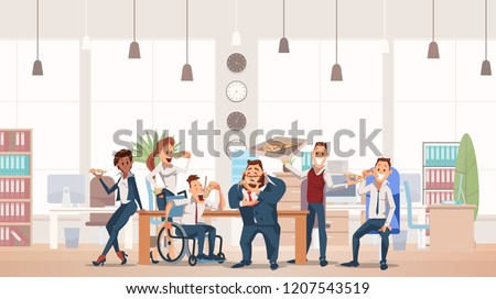 Lunch Time Concept. Coworkers having Break for Lunch with Pizza. Office Fun. Happy Workers in Workplace. People Work in Office. Corporate culture in Office Space. Vector Flat Illustration.