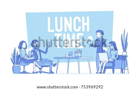 Lunch time in the office. Group of people having break for food and drinks, employees stop working for meal, brief dinner for business meeting or special event. Vector lineart concept illustration