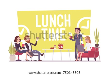 Lunch time in the office. Young workers having break for food and drinks, rest for good workplace culture and business productivity. Vector flat style cartoon illustration isolated on white background