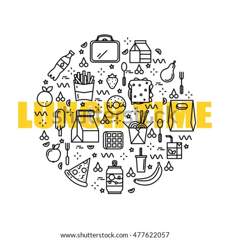 Lunch time line concept. Office, business and school lunch food, items supplies. Junk and healthy food. For branding, fabric, package, wallpaper, identity.