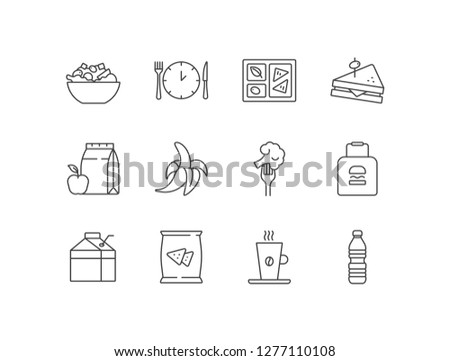Lunch time line icons set with Greek salad, clock, lunchbox, sandwich, paper bag, peeled banana, broccoli, milk, coffee, water bottle.