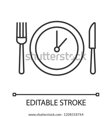 Lunch time linear icon. Dinner break. Thin line illustration. Afternoon business meeting. Business lunch. Table knife, fork and plate with clock. Vector isolated outline drawing. Editable stroke