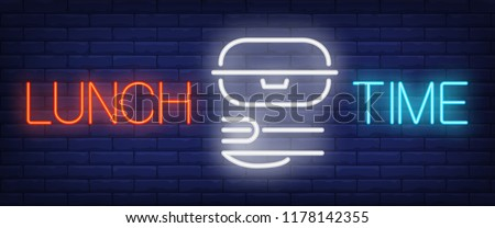 Lunch Time sign in neon style. Red and blue lettering with lunch box, fork and knife. Night bright advertisement. Vector illustration for takeout food and fast food restaurant