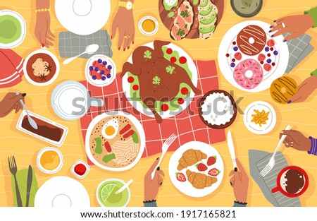 Lunch top view. Cartoon group of people having dinner at home or in restaurant. Table full of plates with food. Human hands holding cutlery. Characters eating desserts and turkey. Vector dining scene