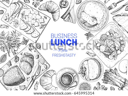 Lunch top view frame. Food menu design. Vintage hand drawn sketch vector illustration.
