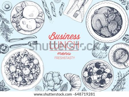 Lunch top view frame. Food menu design. Vintage hand drawn sketch vector illustration. Lunch food dishes.