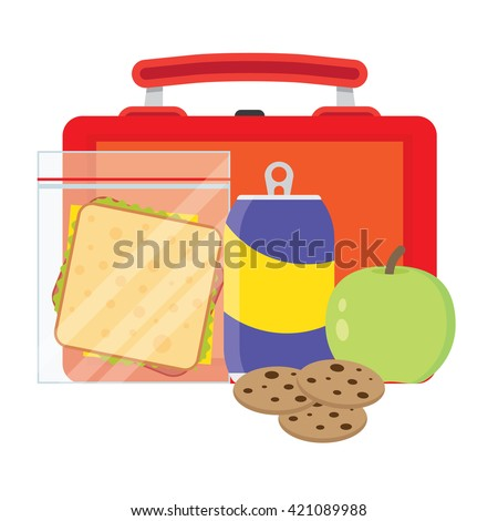 Lunch vector illustration. Lunch break concept. Lunch time design. Lunch box, sandwich, soda and an apple. Lunch icon in flat style. Lunch school. Lunch kids image.