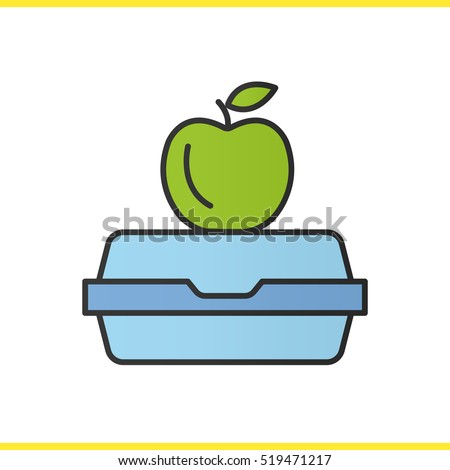 Lunchbox color icon. Apple on lunch box. Isolated vector illustration