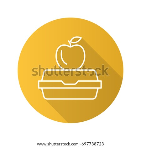Lunchbox flat linear long shadow icon. Apple on lunch box. Vector outline symbol
