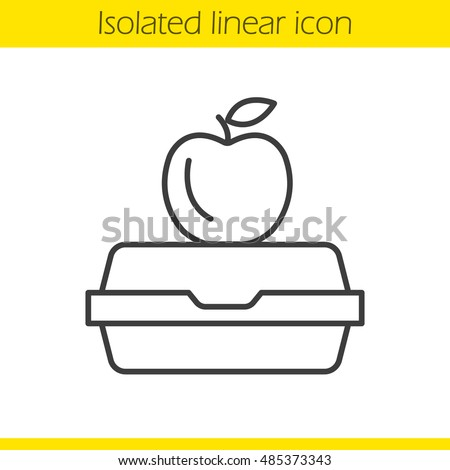 Lunchbox linear icon. Thin line illustration. Apple on lunch box. Contour symbol. Vector isolated outline drawing