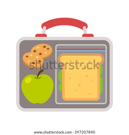Lunchbox with school lunch: apple, sandwich and cookies. Flat vector illustration.
