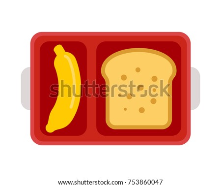 Lunchbox with school lunch sandwich and banana vector illustration