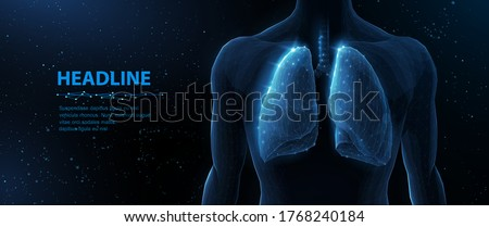 Lung and human body. Abstract vector 3d lungs on body background. Human health, respiratory system, pneumonia illness, biology science, smoker asthma, healthcare concept. Organ anatomy illustration