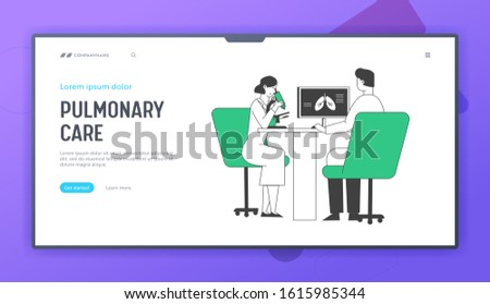 Lung Diagnosis Website Landing Page. Pulmonology Doctors Checking Lungs Watching to Microscope and Learning X-rays Image on Computer Screen Web Page Banner. Cartoon Flat Vector Illustration, Line Art