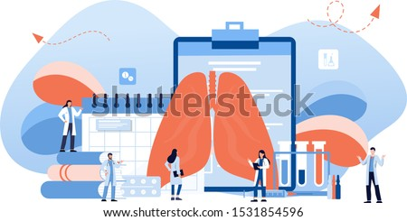 Lung inspection concept. Pulmonology of human vector illustration for website, app, banner. . Fibrosis, tuberculosis, pneumonia, cancer, lung diagnosis doctors treat, scan lungs.