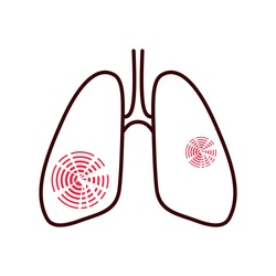 lungs afflicted with pain, disease illustration, icon isolated on white background