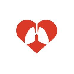 Lungs & Hearth Vector. Medicine logo, medical icon. Logo design template for clinic. Heart vector symbol