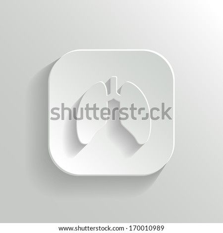 Lungs icon - vector white app button with shadow