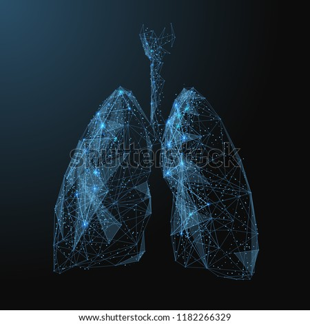 lungs. Low poly blue. Polygonal abstract health illustration. In the form of a starry sky or space. Vector image in RGB Color mode.