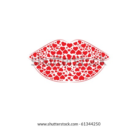 Luscious  Lips -  made of hearts - all separate pieces