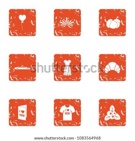 lust icons set grunge set of 9