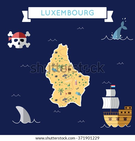 luxembourg treasure map in flat