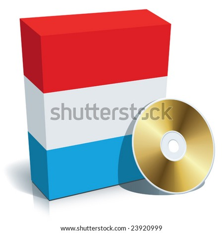 Luxembourgian software box with national flag colors and CD.
