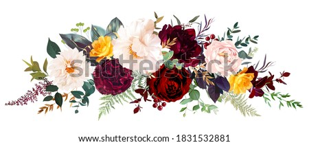 Luxurios autumn vector design banner bouquet. Yellow flowers, white and burgundy red peony, red carnation, blush pink ranunculus, greenery, fall plants, ivory dahlia, berry. Isolated and editable.