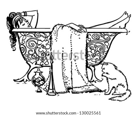 Luxurious Bath - Retro Clip Art Illustration