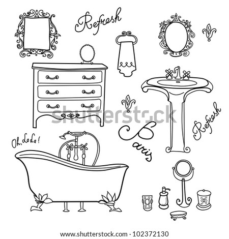 Stock Photo Luxurious Bathroom. Bathroom doodles in vintage, boudoir style
