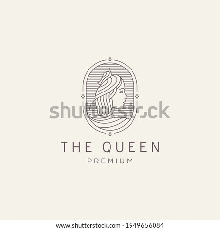 Luxurious Beautiful queen mono line logo icon design template vector illustration Stock photo ©