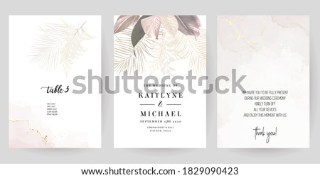 Luxurious beige and blush trendy vector design square frames. Pastel pampas grass, fern, tropical palm leaves. Watercolor brush texture. Wedding cards decoration. Elements are isolated and editable