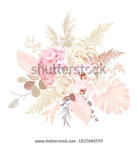 Luxurious beige trendy vector design floral bouquet. Creamy beige rose, blush hydrangea, pale pink orchid, ranunculus, pampas grass, monstera, eucalyptus. Wedding decoration. Isolated and editable