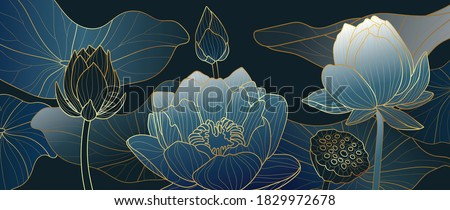 Luxurious blue background design with golden lotus. Lotus flowers line arts design for wallpaper, natural wall arts, banner, prints, invitation and packaging design. vector illustration.