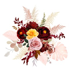 Luxurious boho trendy vector design floral bouquet. Blush pink and yellow rose, burgundy red dahlia, ranunculus, pampas grass, berry, monstera, eucalyptus. Wedding decoration. Isolated and editable