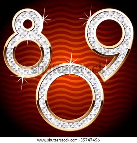 Luxurious characters. White diamonds. 8 9 0
