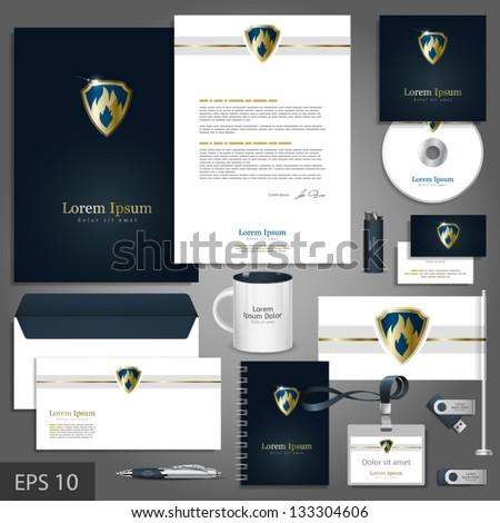 Luxurious corporate identity template with fire element and shield. Vector company style for brandbook and guideline. EPS 10
