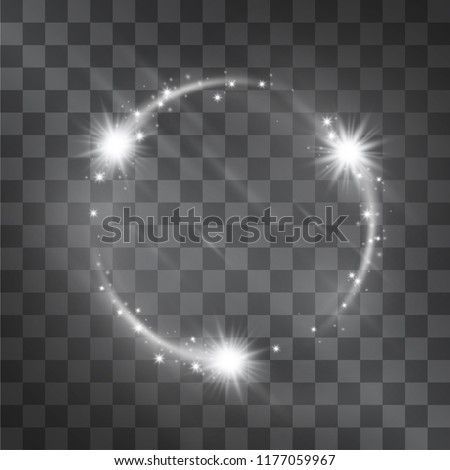 Luxurious fashion silver glitter vector circle frame, glowing light effect. Magical rotating flow of shining stardust sparkles, bright glistening ring swirls illumination for decorative ideas.