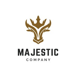 luxurious gold and masculine taurus king logo design