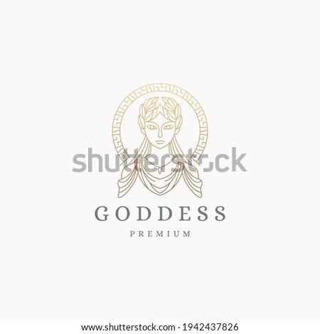 Luxurious greek goddess woman with line style logo icon design template. Demeter, Persephone, hera aphrodite, hestia, flat modern vector illustration Stock photo ©
