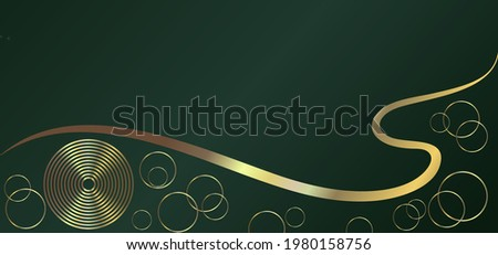 Luxurious green background with a combination of golden flowing lines and circles. Abstract modern background. Photo stock ©
