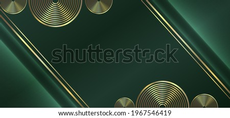 Luxurious green background with a mix of gold lines and circles. Abstract modern background. Photo stock ©