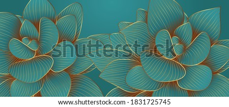 Luxurious green emerald background design with golden lotus. Lotus flowers line arts design for wallpaper, natural wall arts, banner, prints, invitation and packaging design. vector illustration.