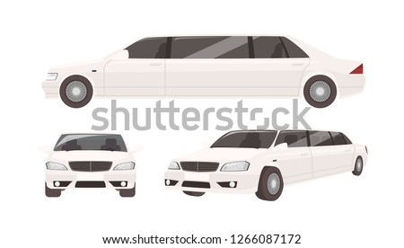 Luxurious limousine or limo isolated on white background. Expensive posh premium motor vehicle, car or automobile. Set of front and side views. Colorful vector illustration in flat cartoon style.