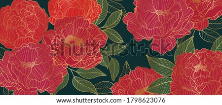 Luxurious line arts background design with peony flower spherical composition for wallpaper, textiles, paper and prints. Vintage vactor illustration.