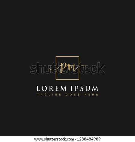 Luxurious minimalist elegant handwritten Initials letters PM linked inside square line box vector logo designs inspirations in gold colors for brand, hotel, boutique, jewelry, restaurant or company
